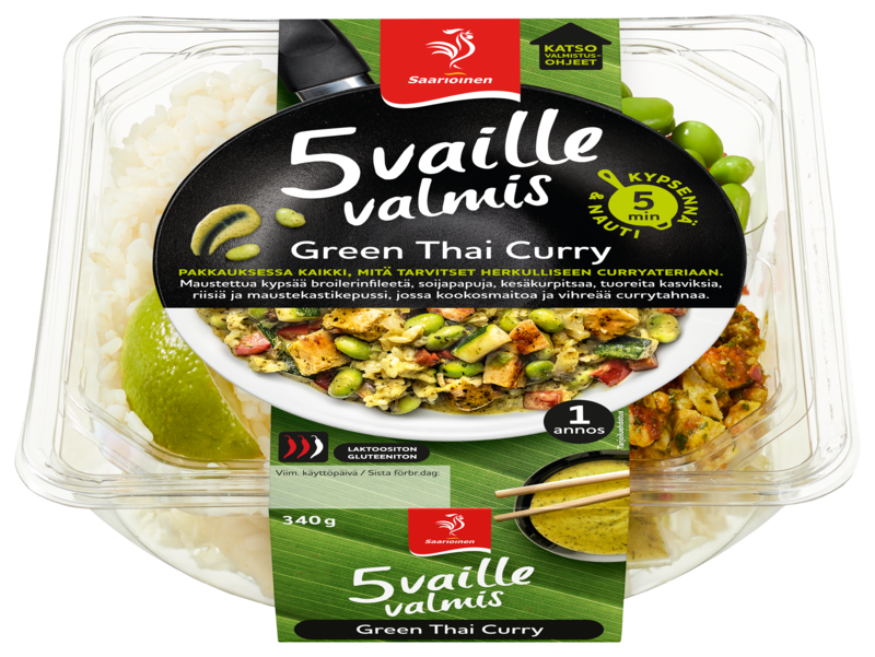 5 vaille valmis Green Thai Curry 340 g